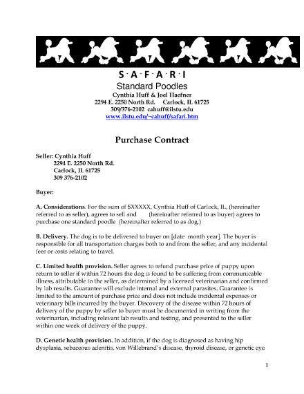 8  puppy sales contract templates