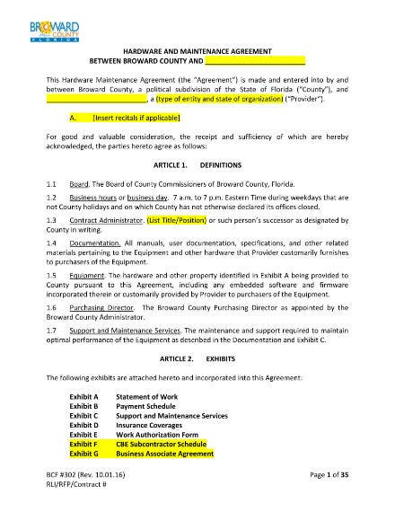 hardware and maintenance agreement 01
