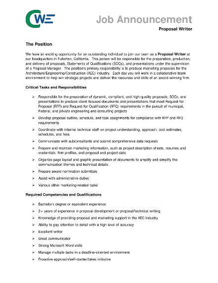 job proposal for writer 1