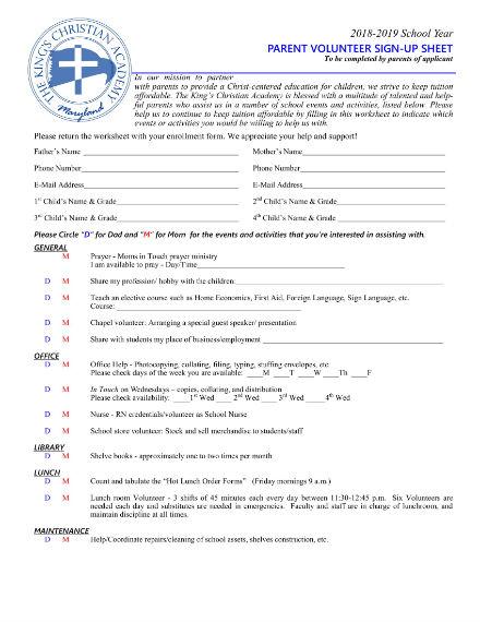 parent volunteer sign up sheet 1