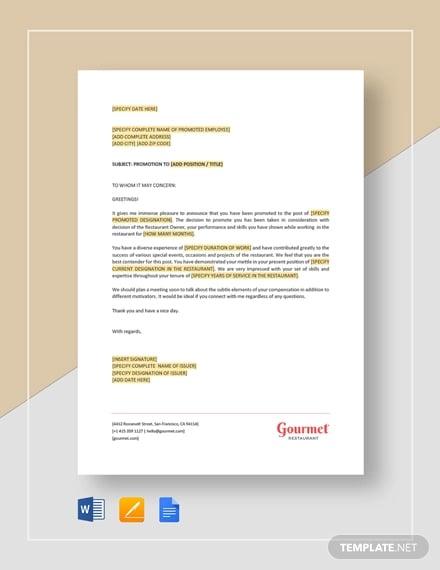 Sample Restaurant Employee Promotion Letter Template