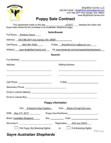 sample puppy contract 1