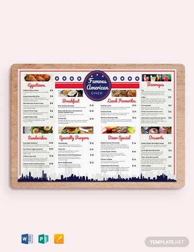 american dinner restaurant menu template