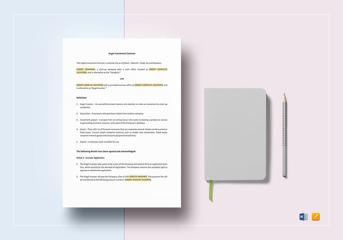 angel investment contract template