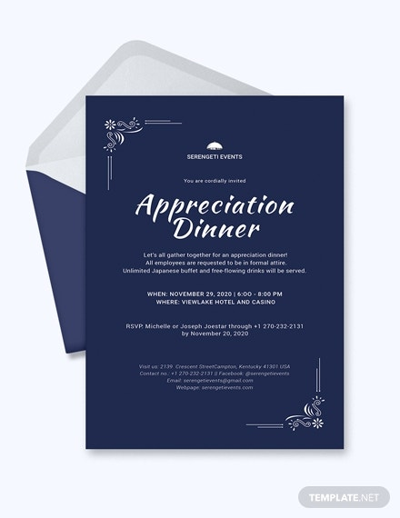appreciation dinner invitation template