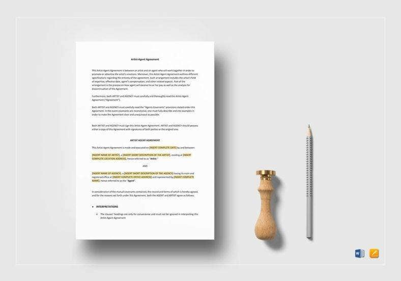 artist agent agreement template 788x552