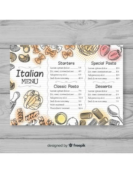 artistic theme italian menu design