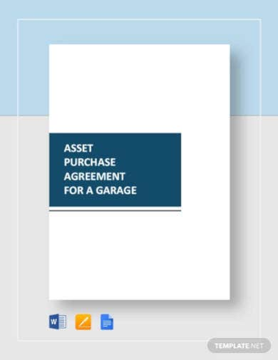 asset purchase agreement for a garage
