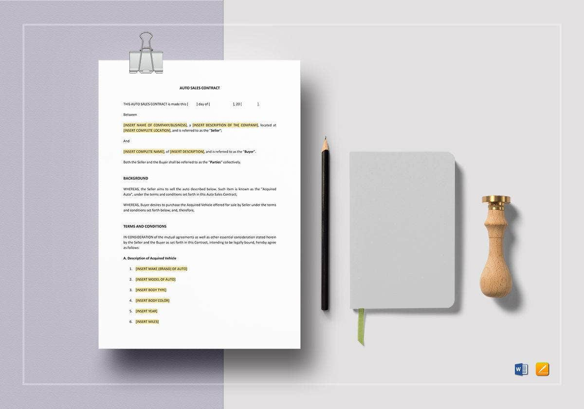 auto sales contract template
