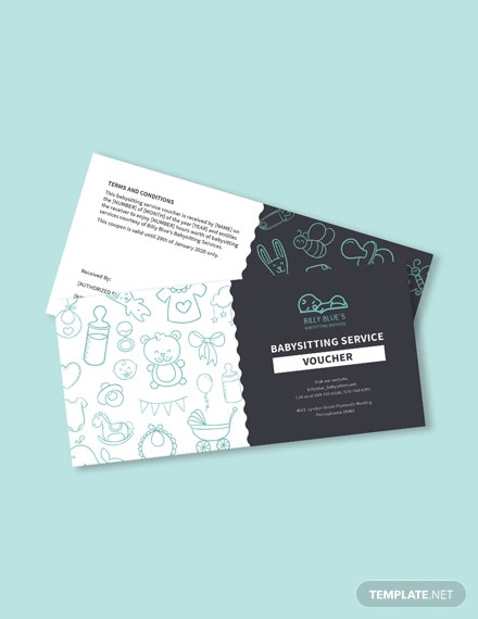 babysitting voucher psd template