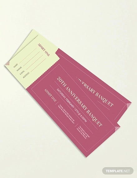 banquet ticket template