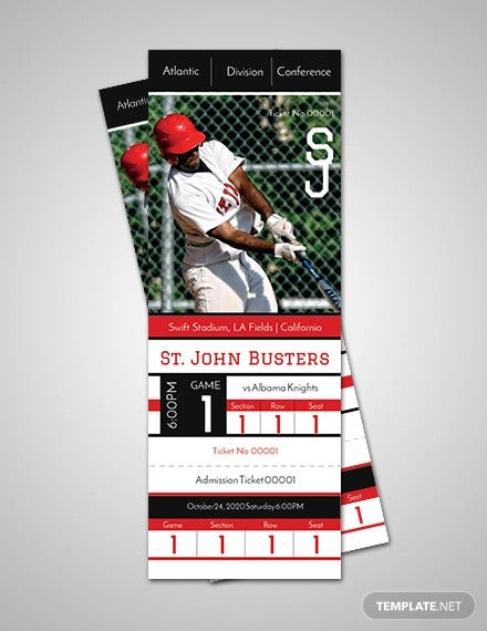 baseball admission ticket template