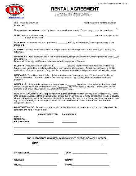 basic rental agreement sample