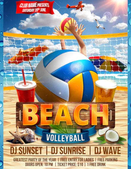 beach volleyball flyer example