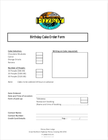 birthday cake order template