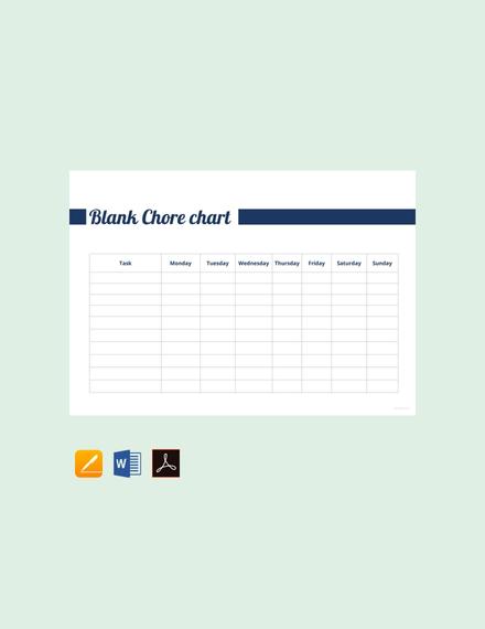 blank chore chart