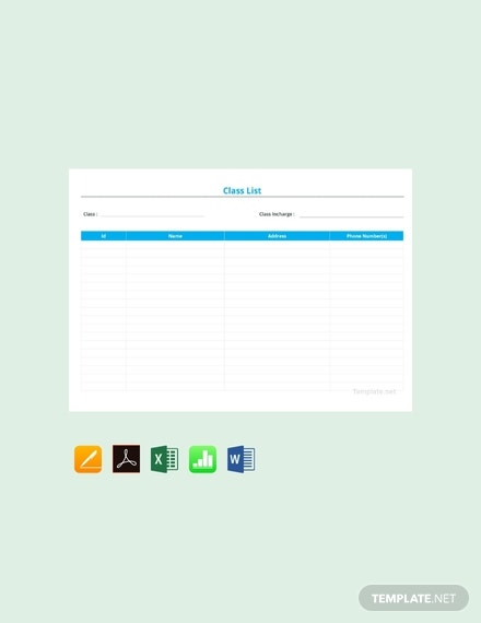 blank class list template