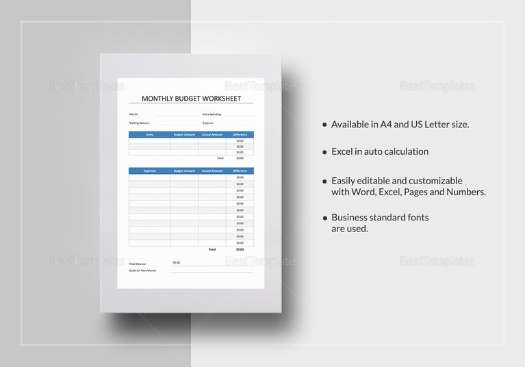 blank monthly budget worksheet template