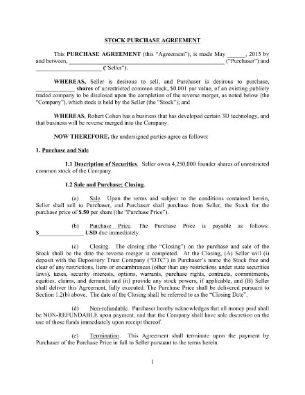 blank stock purchase agreement template