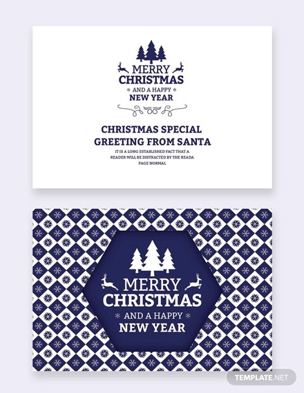 blue christmas and new year card template