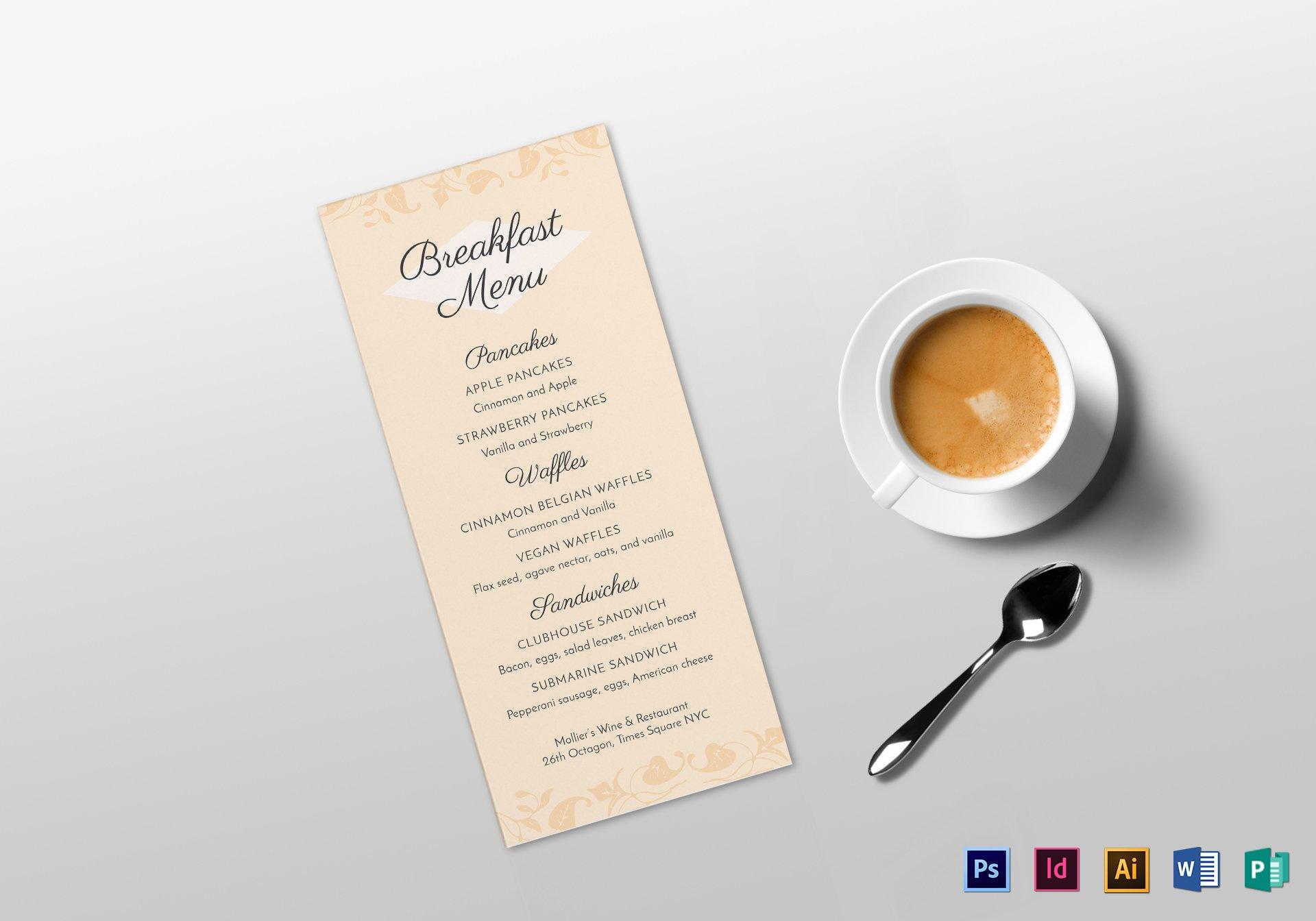 breakfast menu template