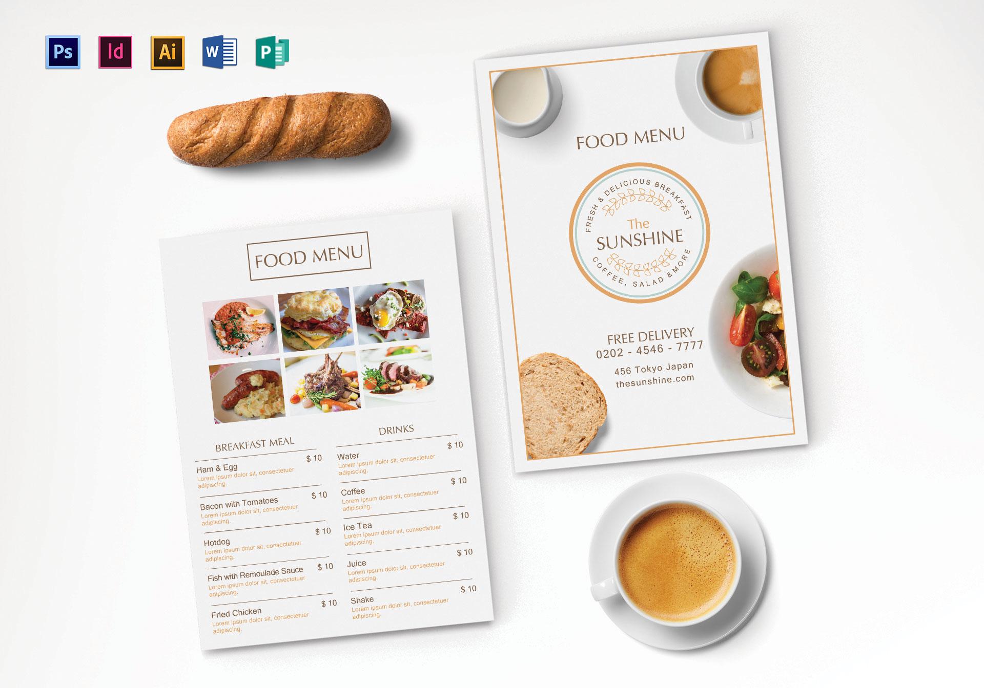 breakfast party menu template