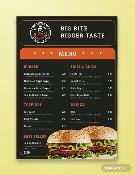 burger restaurant menu template