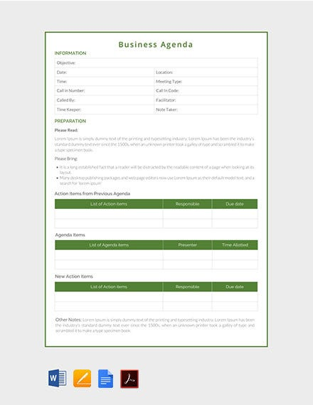 business agenda template