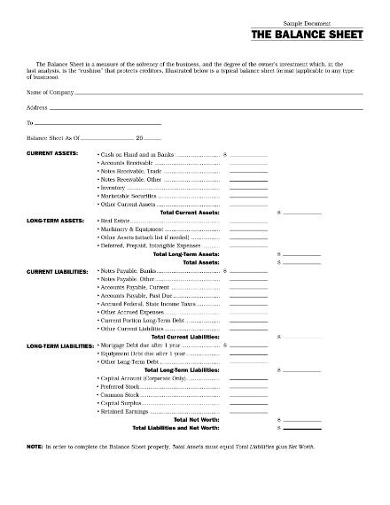 business balance sheet