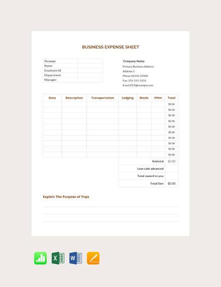 business expense sheet template