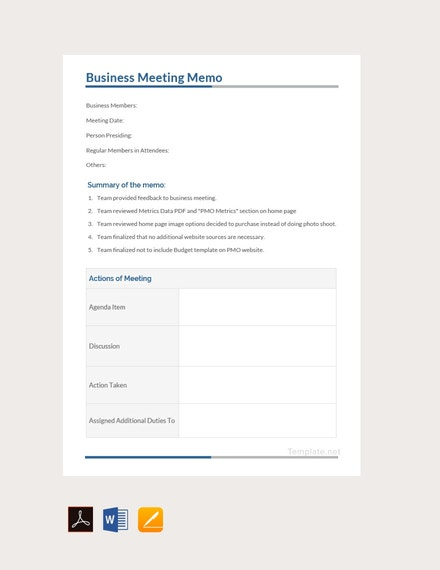 business meeting memo template