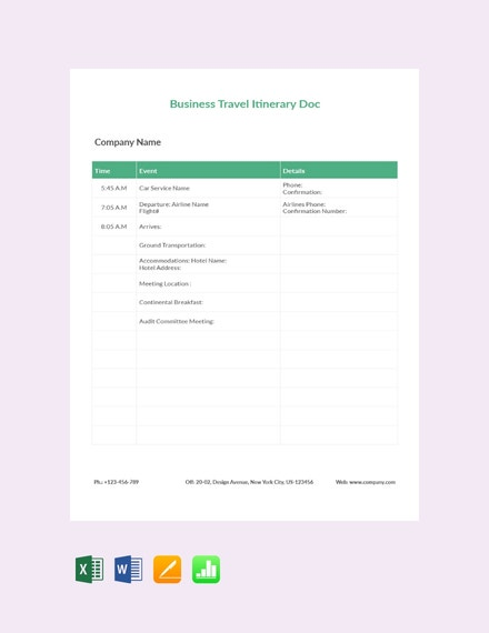 10 Itinerary Templates In Numbers Free Premium Templates