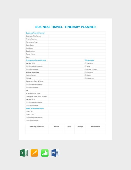 business travel itinerary planner