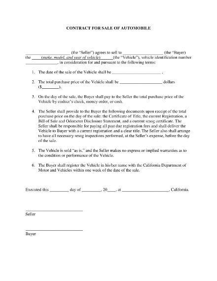 car sale contract 1