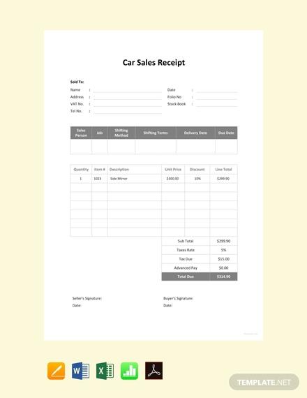 car sale receipt template2