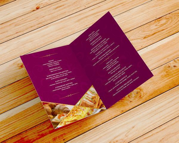 card style breakfast menu sample