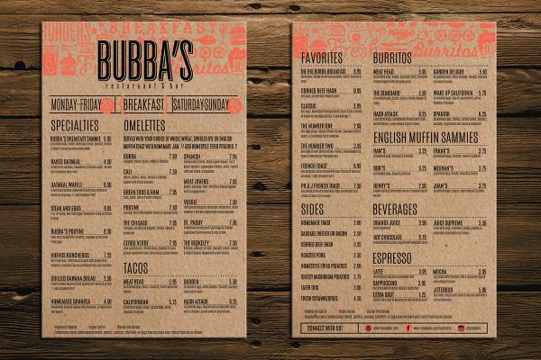 cardboard breakfast menu sample