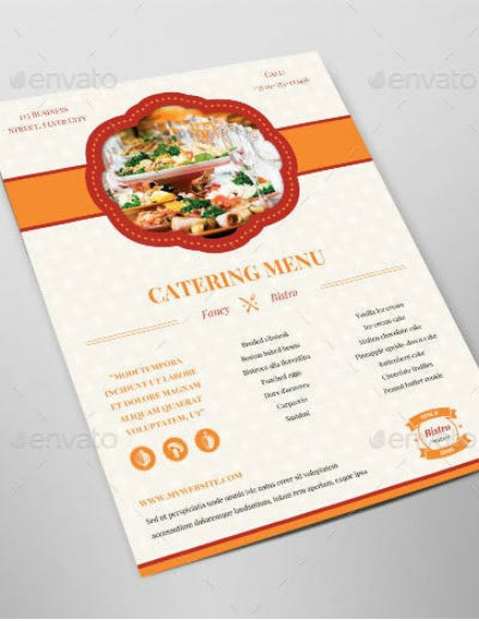 catering business food menu layout