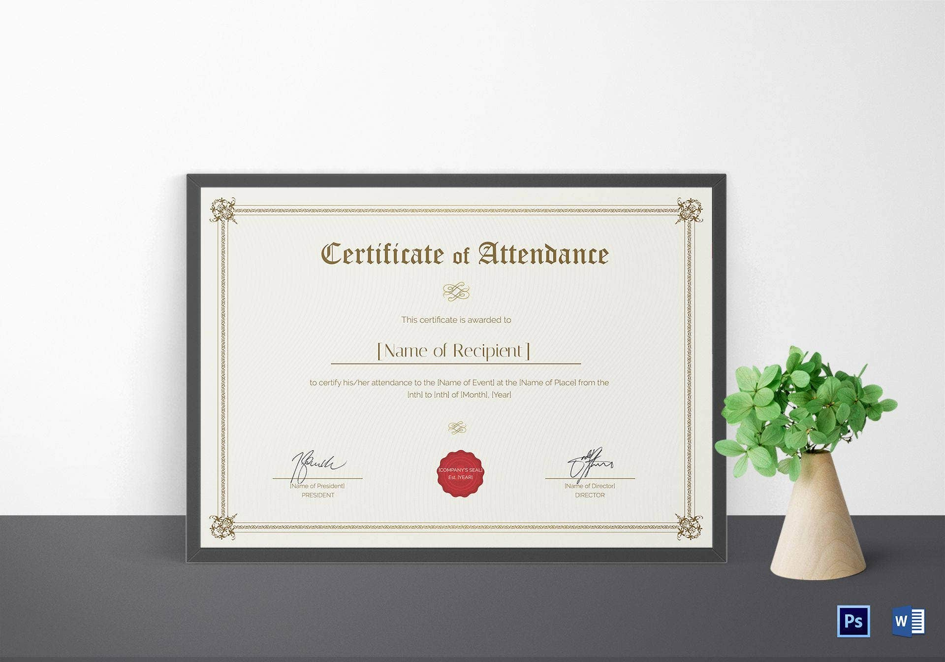 certificate of attendance template