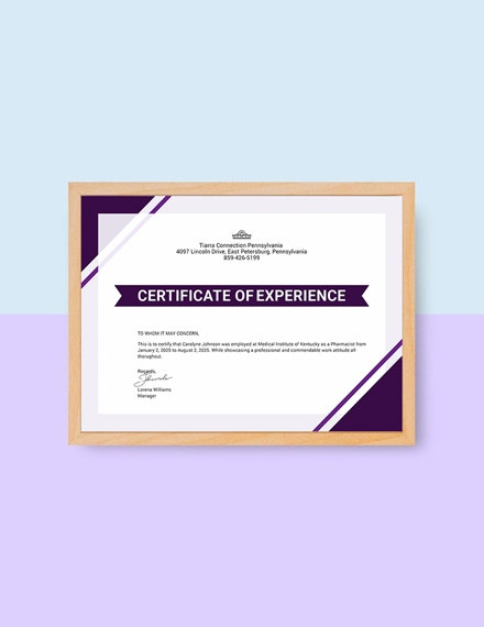 certificate of job experience