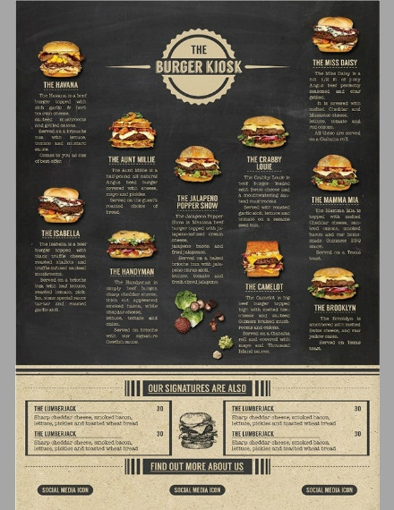 chalkboard burger kiosk menu template