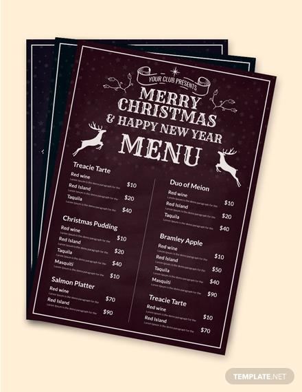 chalkboard christmas menu template