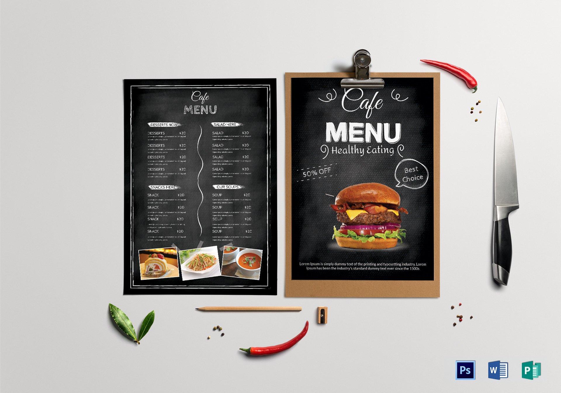 chalkboard style cafe menu template