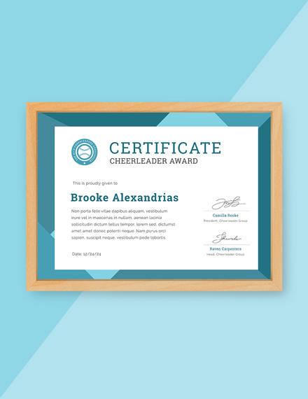 cheerleader award certificate