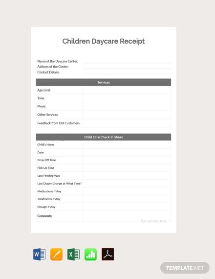 children daycare receipt template