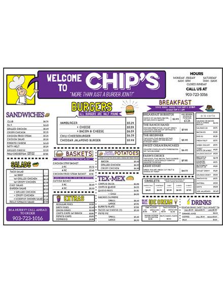 chips burger cafe menu example