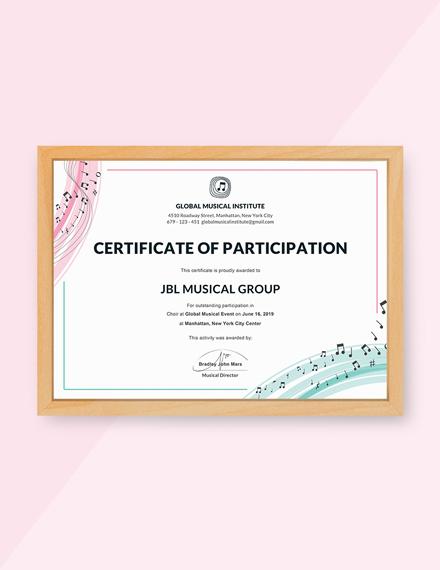 choir participation certificate