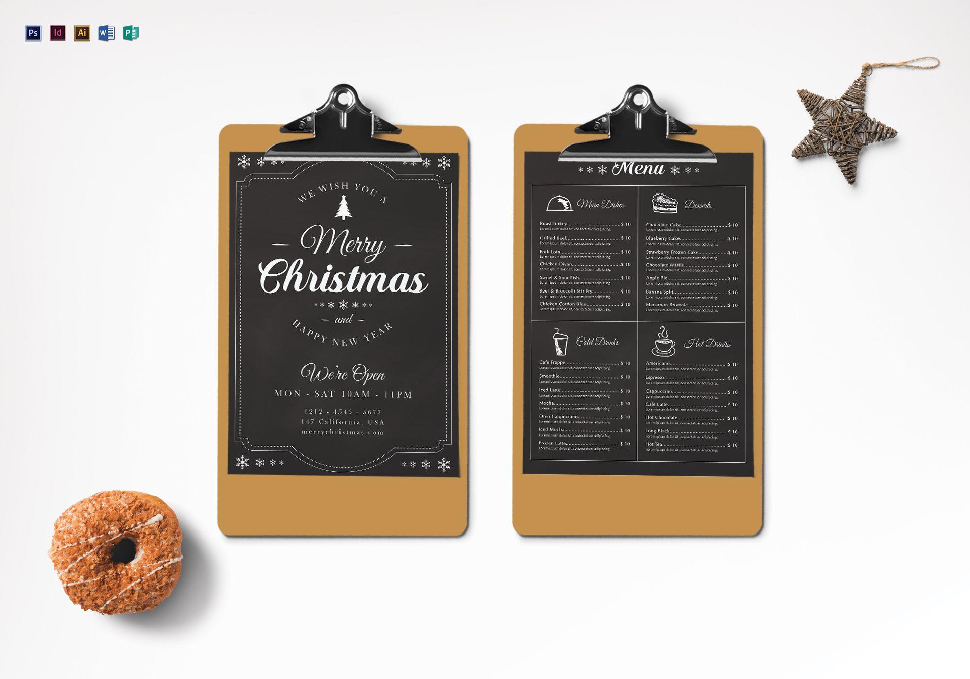 christmas chalk menu template