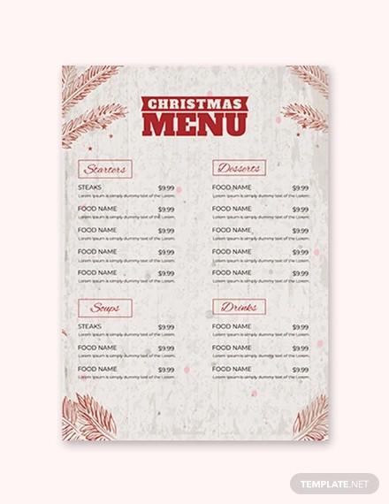 christmas dinner menu template1