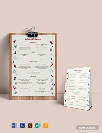 christmas dinner menu template2